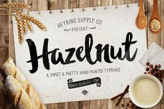 Hazelnut Typeface + Bonus Extras by Heybing Supply Co. on Creative Market