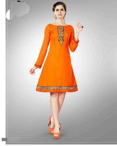 Orange   riotous Embroidered Georgette Tunic kurtis       Fabric:   Georgette       Work:   Embroidered       Type:   Tunic kurtis       Color:   Orange