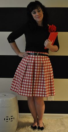 red and white gingham katie skirt on etsy.com