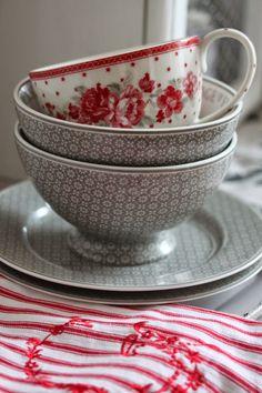 red and gray dinnerware..
