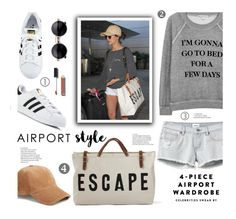 """""""Jet Set: Airport Style"""" by edenslove ❤ liked on Polyvore featuring Wildfox, RVCA, adidas, rag & bone and Chanel"""