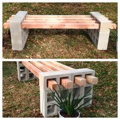 DIY bench - just spray paint the cinder blocks black and throw a couple seat cushions on top and you're in business!