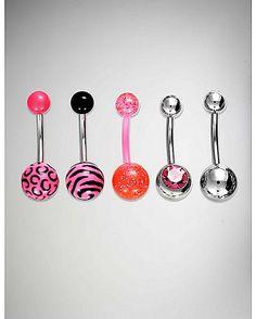 14 Gauge Black & Pink Animal Cz Belly Ring 5 Pack - Spencer's
