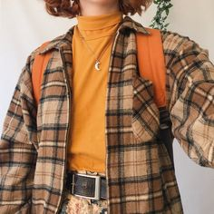 Perfect vintage checked zip up jacket, in thick cosy fuzzy flannel material. Ideal autumn jacket with a chunky zip fastening down the front. Mode Outfits, Retro Outfits, Vintage Outfits, Casual Outfits, Fashion Outfits, Layering Outfits, Geek Chic Outfits, Men Casual, 2000s Fashion
