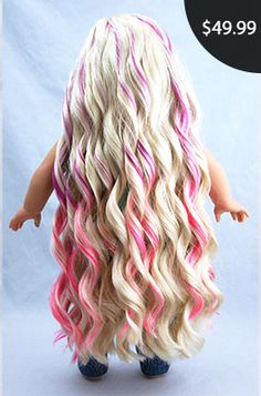 "Berry Swirl Aloha Doll Wig, Blondw with Purple Pink Ombre Highlights, fits 18"" American Girl Dolls size 10-11, Extra Long like Kanani Hair: Beautifully Custom Dolls Exclusive"