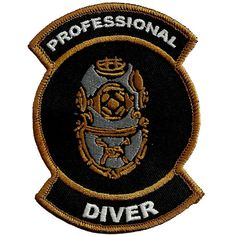 Scuba Diving Embroidered Patch Professional Diver Black Snorkeling Gift Iron On