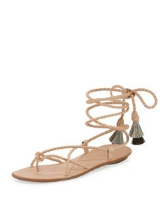 Braided+Lace-Up+Tassel+Flat+Sandal,+Nude/Natural/Black+by+Loeffler+Randall+at+Neiman+Marcus.