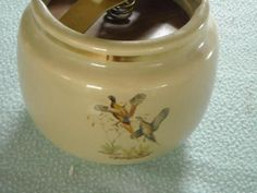 Humidor Pheasants Ducks Pottery Humydrole Filter Locking Lid Antique $77