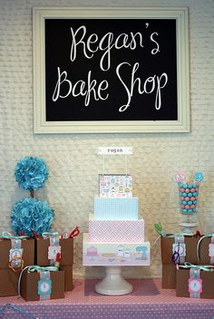 Adorable pink and blue bake shop birthday party.