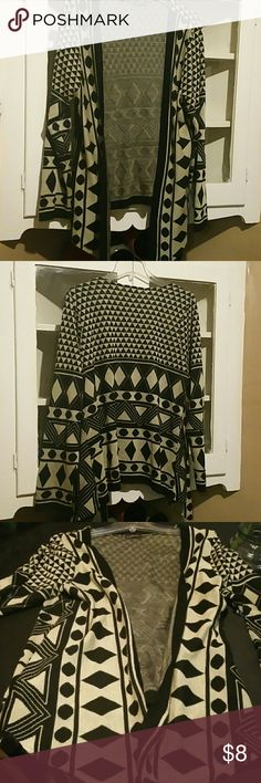 Ethnic sweater Black and off white beige polka dot squares design Sweaters