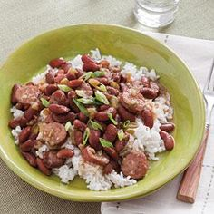 Stove top Red Beans and Rice.  Make a big batch for company, or freeze leftovers for later.