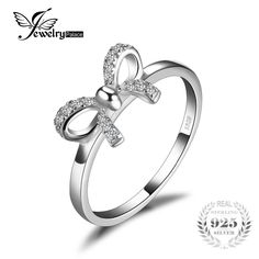 Bow Cubic Zirconia Anniversary Wedding Ring For Women Pure 925 Sterling Silver Fashion Jewelry Best Girl's Gift Great Gifts For Wife, Love Gifts, Girl Gifts, Wedding Rings For Women, Wedding Bands, Argent Sterling, Sterling Silver, Sterling Jewelry, Silver Jewelry