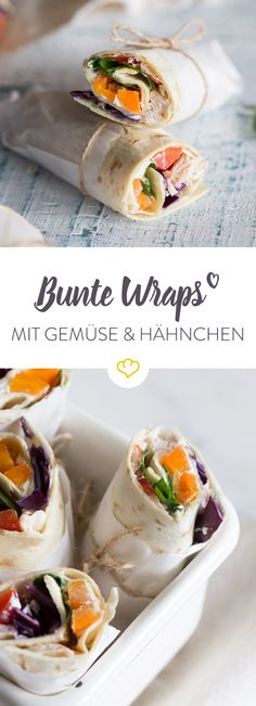 Bunte Wraps mit Gemüse und Hähnchen These colorful wraps are filled with cream cheese, vegetables and chicken and look not only good, but are also healthy and really delicious! Work Meals, No Cook Meals, Lunch Snacks, Food To Go, Love Food, Party Finger Foods, Lunch To Go, Recipes From Heaven, Wrap Sandwiches