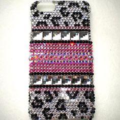 "For iPhone 6 Plus / 6S Plus (5.5"") - Pink & Leopard Design - Crystal  Rhinestone BLING Back Case handmade using 100% Swarovski Crystals"