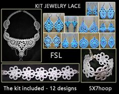 FSL Jewelry set - Embroidery design necklace - bracelet - earrings lace No.558 - 5x7hoop./INSTANT DOWNLOAD