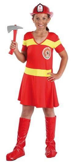 disfraz de bombera nia varias tallas este comodsimo traje rojo con cintas