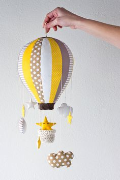 Items similar to Hot Air Balloon - Baby Mobile, Home Decor - Hot Air Balloon Crochet Basket, Stars and Clouds on Etsy