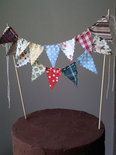 Cake Bunting 1960's Camping Trip Topper on Bakers Twine Woodland theme.
