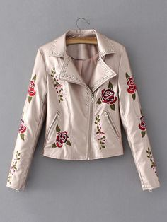 Shop Rose Embroidery Studded Detail Metallic Moto Jacket online. SheIn offers Rose Embroidery Studded Detail Metallic Moto Jacket & more to fit your fashionable needs.