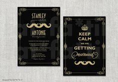 Keep Calm Double Mustache Gay Couple Same Sex Wedding Invitation | Custom Retro Modern Elegant Chic Whimsical Moustache Wedding Invite Wedding Set