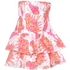 Pre-owned Lilly Pulitzer Yellow & Pink Conch Print Elinor Dress ($79) ❤ liked on Polyvore featuring dresses, floral pattern dress, strapless dresses, pink strapless dress, yellow floral dress and smocked dresses