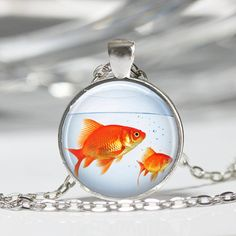 Fish Necklace Goldfish Bowl Fish Jewelry by MissingPiecesStudio