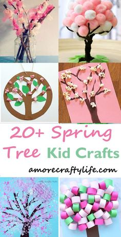 Make a spring tree craft. Spring Tree Crafts – 20 Plus Kids Crafts - A More Crafty Life Diy Spring, Spring Tree, Spring Crafts For Kids, Projects For Kids, Art For Kids, Craft Projects, Spring Flowers, Craft Ideas, Arts And Crafts For Children