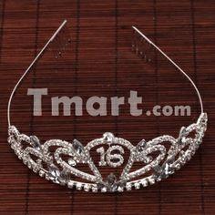 "Gorgeous ""16"" Design Rhinestone Crown Headband,$7.73"