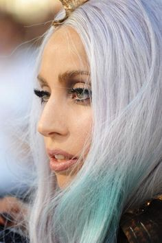 Lady Gaga in colorful hair. Mix a drop of Lie Locks into Pastelizer for the top color, and add a little bit of Atomic Turquoise toward the bottom.