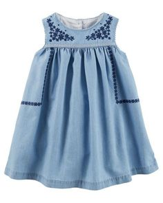 Baby Girl 2-Piece Embroidered Chambray Dress from OshKosh B'gosh. Shop clothing & accessories from a trusted name in kids, toddlers, and baby clothes.