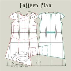 Flare Gather Dress Pattern plan