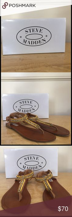 Steve Madden Guesst Cognac Leather Sandal BRAND NEW!!! Steve Madden Guesst Cognac Leather Sandal. You benefit from my shopaholic ways 😉 Purchased for myself, but never worn. Original shoe box included. All merchandise sold as-is. Steve Madden Shoes Sandals