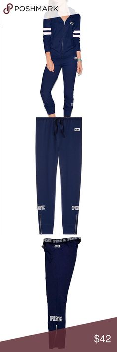 """Vs pink jogger navy Extra stretchy with a soft sweatpant feel—the Gym Pant is our slimmest fit. Perfect for that street sport look.  Super soft stretch fleece Our slimmest fit Cuffed bottom with zips 29"""" inseam Printed graphics Imported cotton/polyester PINK Victoria's Secret Pants Track Pants & Joggers"""