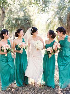 jewel tone bridesmaids' dresses, photo by Erich McVey http://ruffledblog.com/sierra-madre-wedding #bridesmaidsdresses #bridesmaids #green