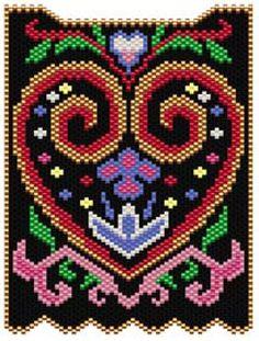 Folk Art Heart Pattern   Bead-Patterns
