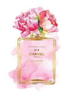 Chanel No5 art 8.5x11 Pink Peony watercolor Gold by hellomrmoon