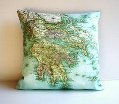 map pillow of greece