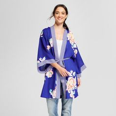 Women's Recycled Poly Woven Print Kimono - A New Day™ Blue : Target