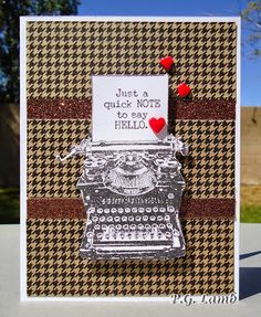 Peachy Paper Crafts Part Deux: Typed Note--April Stamp Of The Month Blog Hop #PaperFundamentals #Basics