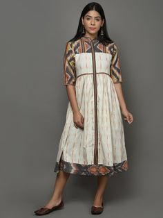 Off White Ikat Cotton Midi Dress Kurti Designs Party Wear, Kurta Designs, Blouse Designs, Simple Dresses, Casual Dresses, Casual Frocks, Ikkat Dresses, Frock For Women, Gown Pattern