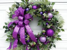Large Sparkling Purple Christmas Wreath by PinkRibbonWreaths Purple Christmas Decorations, Purple Christmas Tree, Christmas Swags, Holiday Wreaths, Winter Christmas, Christmas Holidays, Christmas Crafts, Christmas Bunting, Christmas Tables
