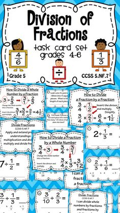 Fraction Division Task Cards and Poster Set - Dividing Fractions Education Quotes For Teachers, Quotes For Students, Education College, Elementary Education, Education English, Math Education, 5th Grade Math, Fourth Grade, Math Fractions