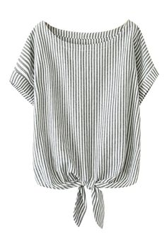 Shop ROMWE Self-tie Bowknot Striped Rolled-cuffs Loose Bowknot online. ROMWE offers ROMWE Self-tie Bowknot Striped Rolled-cuffs Loose Bowknot & more to fit your fashionable needs.I have always and probably always will love striped shirts. T-shirts or Casual Outfits, Cute Outfits, Fashion Outfits, Fashion Trends, Fashion Styles, Latest Street Fashion, Mode Inspiration, Seersucker, Blouse Designs