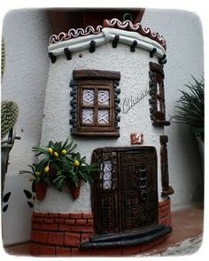 Artesanias Chanel: Tejas decoradas en Relieve Clay Houses, Miniature Houses, Tile Crafts, Roof Tiles, Clay Ornaments, Fairy Houses, Tile Art, Little Houses, Clay Art