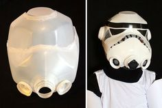 Help Darth Vader take over the universe as a Star Wars Storm Trooper this Halloween. Take an old milk jug to create your own Star Wars storm trooper helmet! The shape of the milk jugs are easy to mold to create the look you need. Bd Star Wars, Tema Star Wars, Star Wars Party, Star Wars Halloween, Holidays Halloween, Halloween Crafts, Halloween Costumes, Happy Halloween, Cheap Halloween