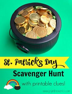 Forget catching the Leprechaun, all you have to do is find his pot of gold! Simply print out and follow the clues for this free printable St. Patrick's Day Scavenger Hunt and you will find the pot of gold that Lucky the Leprechaun left behind! #stpatricksday #stpatricksdayforkids #saintpatricksdayactivity #stpatricksdayactivity #familyfun #diyfamilyfun #scavengerhunt #stpatricksdayscavengerhunt #freeprintable