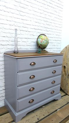 Grey Painted Bedroom Furniture Chest Of Drawers Grey with Cup Handles Painted Pine Grey Painted Furniture, Pine Bedroom Furniture, Colorful Furniture, Shabby Chic Furniture, Furniture Decor, Furniture Stores, Furniture Online, Furniture Outlet, Furniture Repair