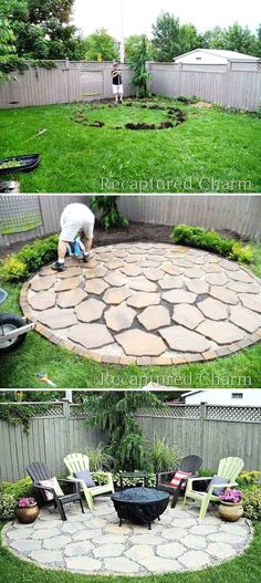 For rustic charm, lay a foundation of scattered limestone pavers and place an old copper fire pit in the center. Via Recaptured Charm  #LandscapingIdeas
