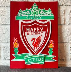 "Ashwana on Instagram: ""For a die hard fan on his 30th birthday... #cardstockcrafts #birthdaycards #personalizedcards #liverpool #handmadecards"" 30th Birthday, Birthday Cards, Die Hard, Liverpool, Card Stock, Fan, Instagram, Bday Cards, Anniversary Cards"