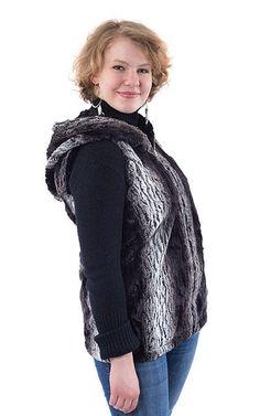 31c803cd388 Hoody Vest - Luxury Faux Fur in Smouldering Sequoia with Cuddly Fur in Black